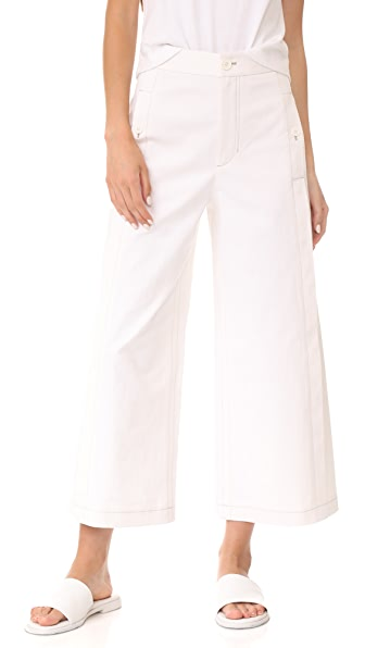 Helmut Lang Seamed High Rise Cropped Trousers In Chalk