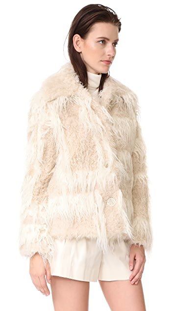 Helmut Lang Shawl Collar Faux Fur Jacket