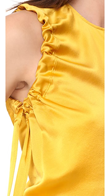 Helmut Lang Armhole Ruched Silk Tank
