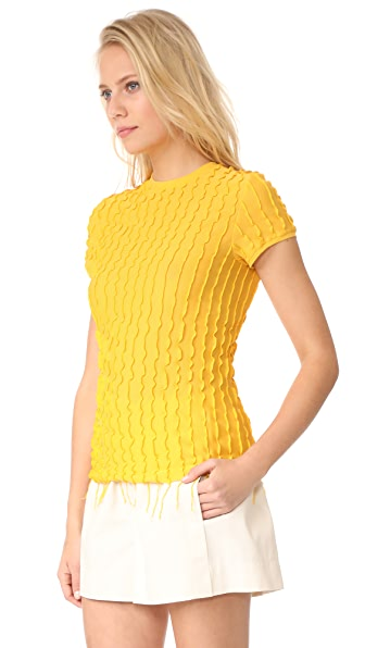HELMUT LANG Ruffled Fitted Baby Tee, Yellow