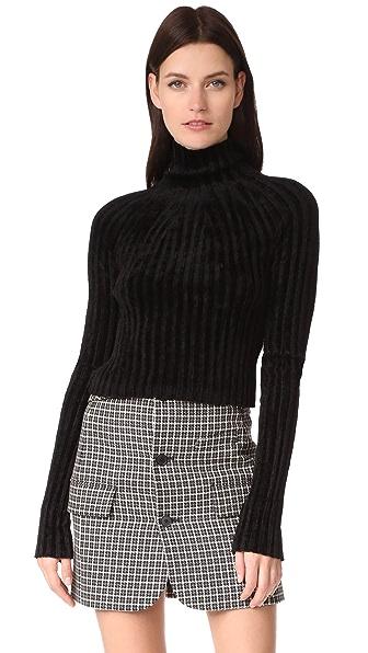 Helmut Lang Cropped T Neck Pullover - Black