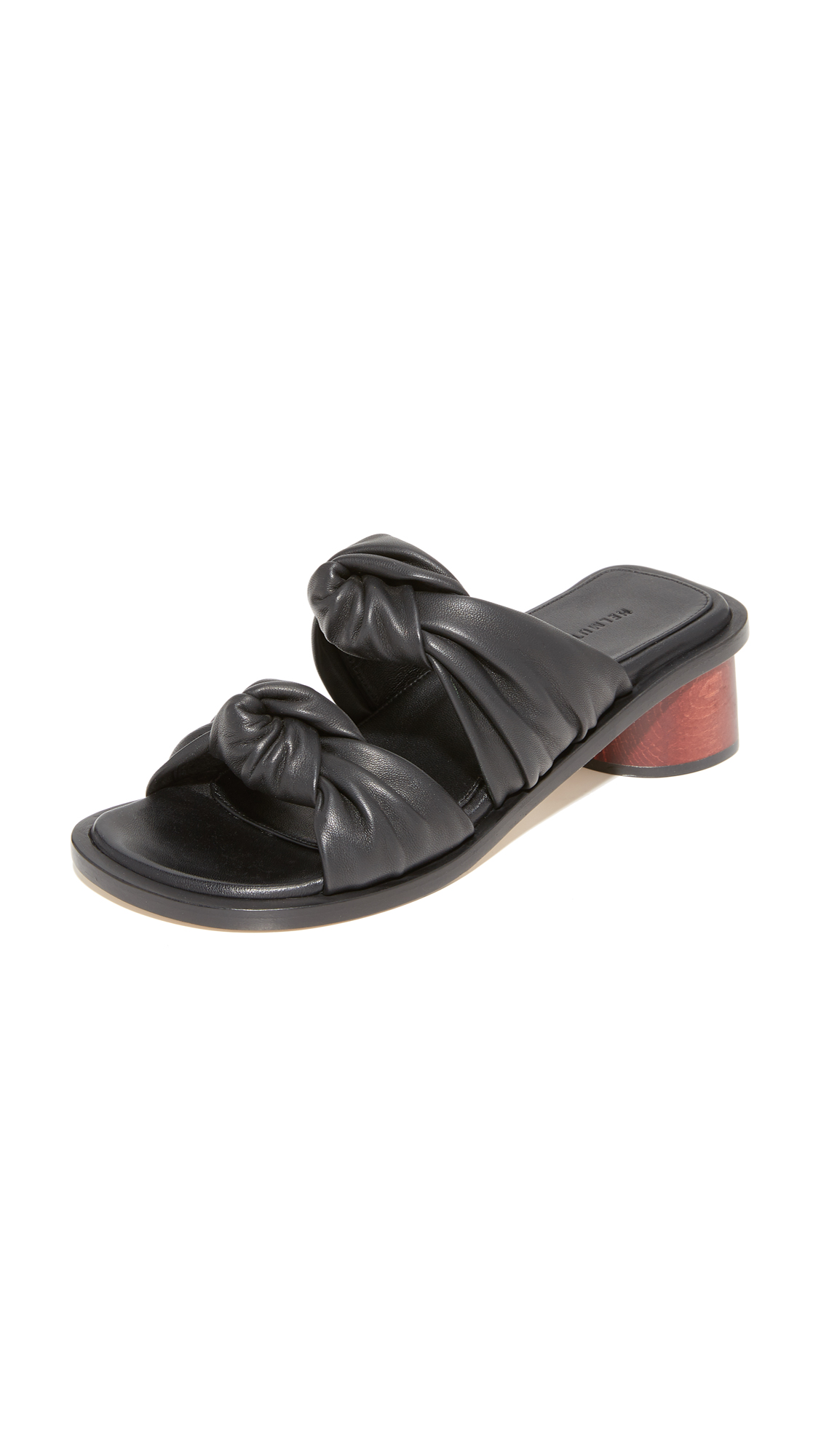 Helmut Lang Double Knotted Slides - Black