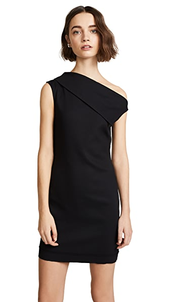 Helmut Lang Asymmetrical Mini Dress In Black
