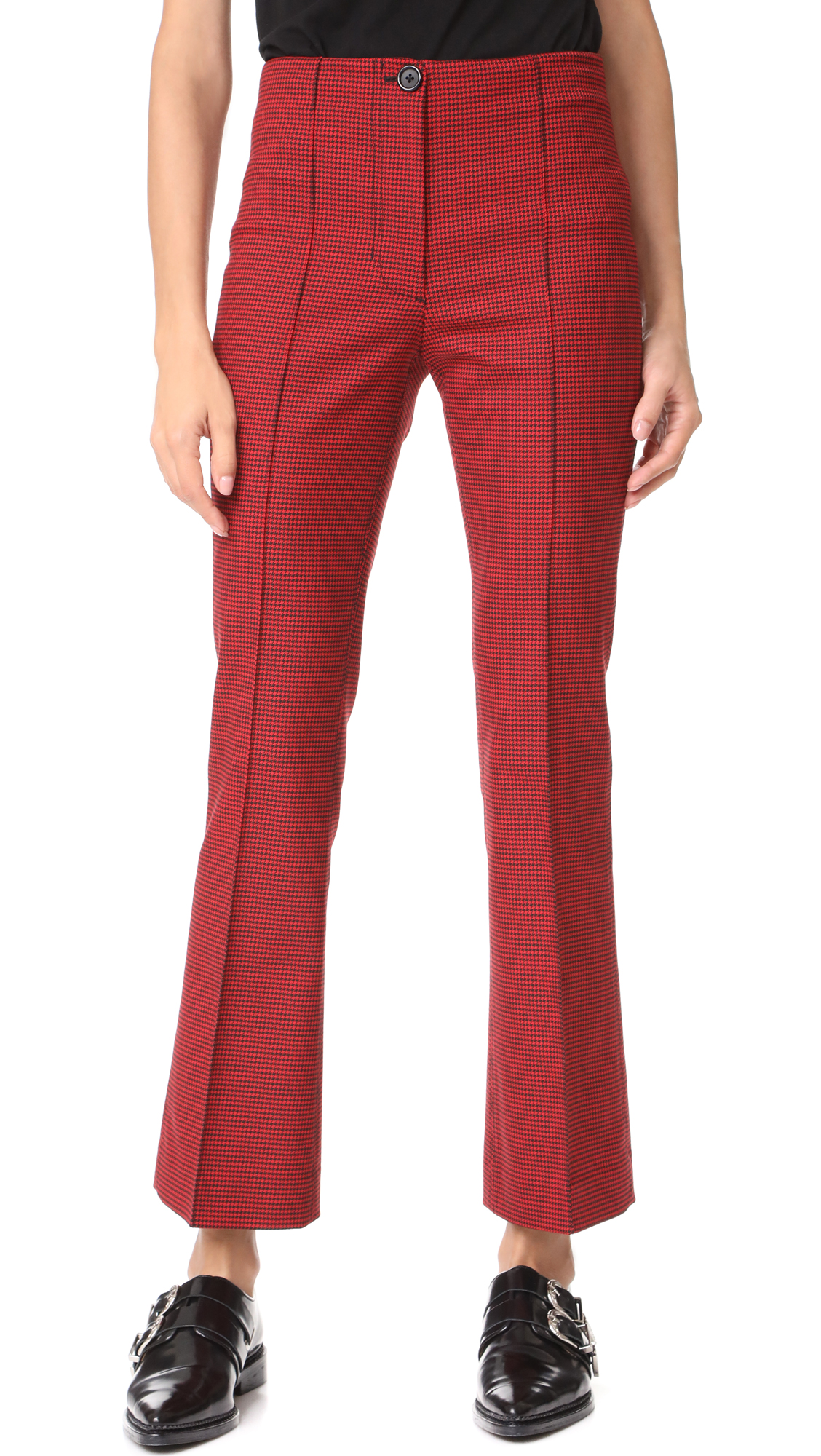 Helmut Lang Houndstooth Cropped Flare Pants - Amaryllis Multi