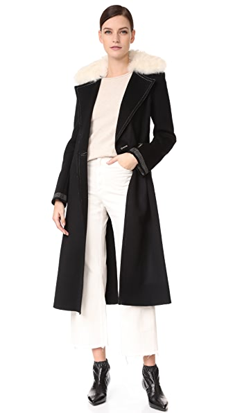 Helmut Lang Shearling Collar Coat - Black