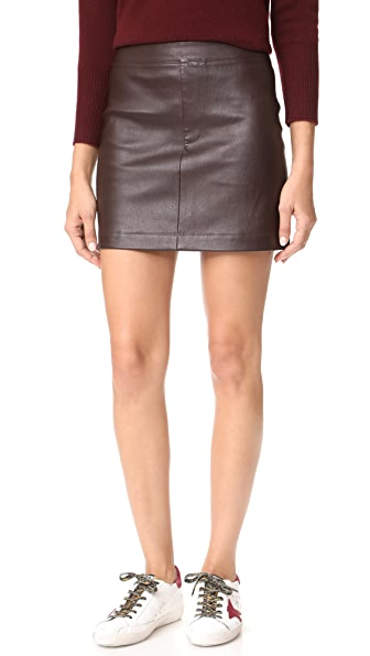 Helmut Lang Stretch Leather Mini Skirt In Calla
