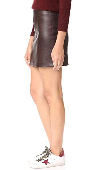 helmut lang stretch leather mini skirt in calla modesens