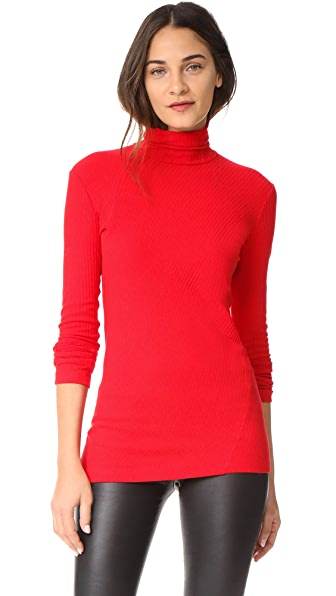 Helmut Lang Long Sleeve Turtleneck Top In Amaryllis