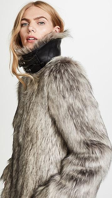 Helmut Lang Faux Fur Wolf Jacket