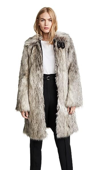Helmut Lang Faux Fur Wolf Jacket In Grey Multi