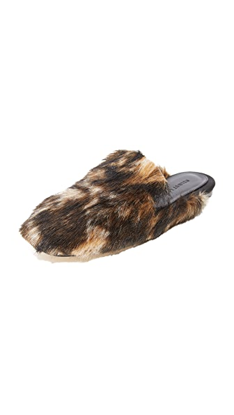 Helmut Lang Square Toe Fur Mules In Dark Honey/Multi