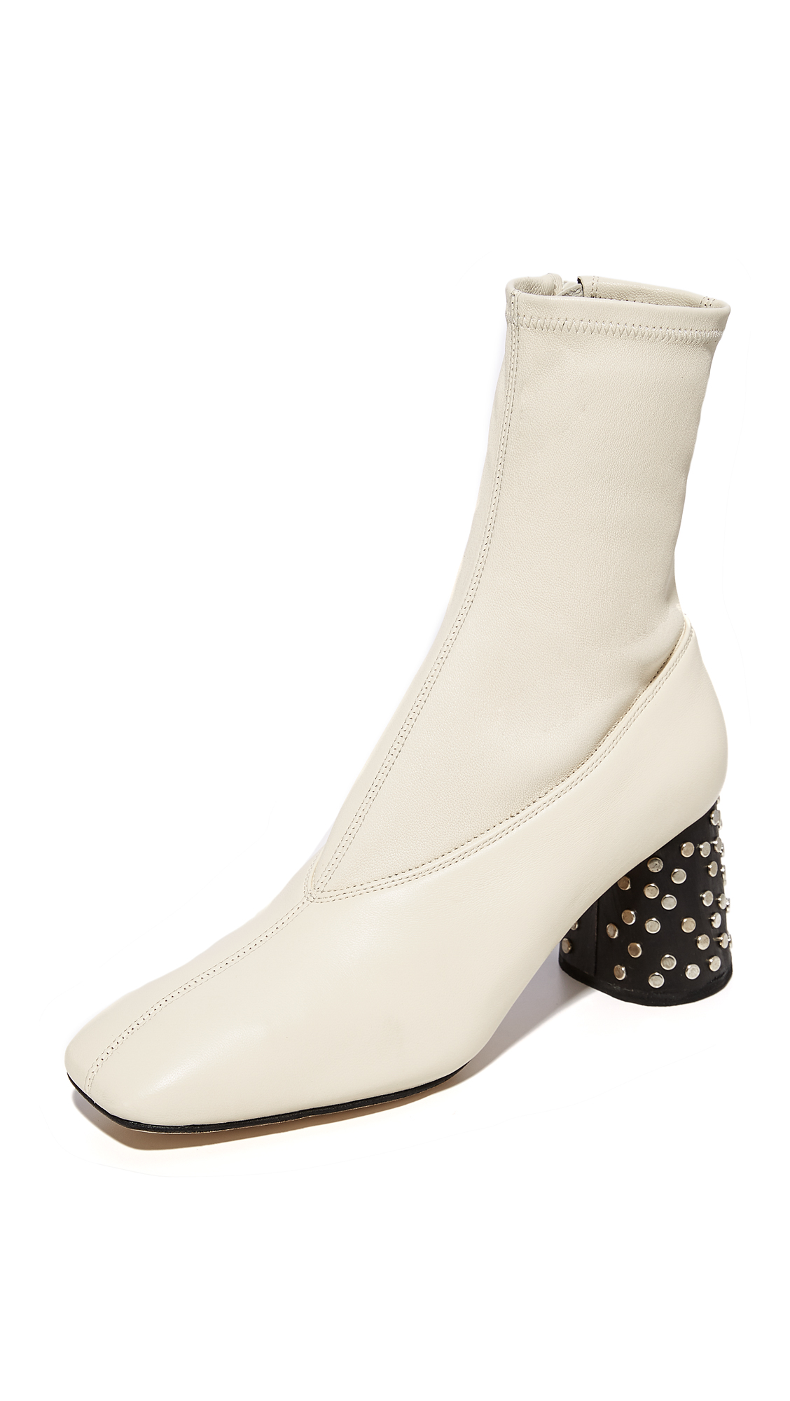 Helmut Lang Studded Heel Mid Calf Stretch Booties - Ivory