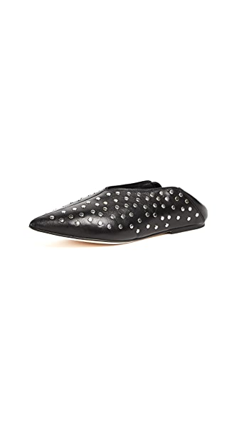 Helmut Lang Studded Point Convertible Flats In Black
