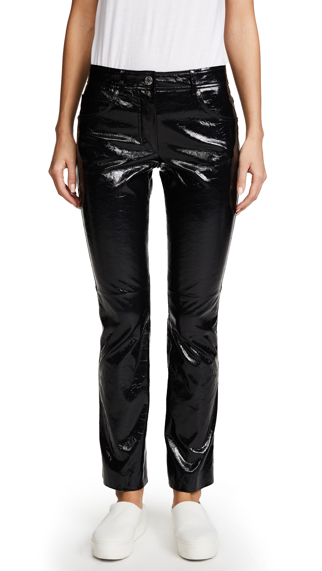 Helmut Lang Patent Cropped Flare Pants - Black