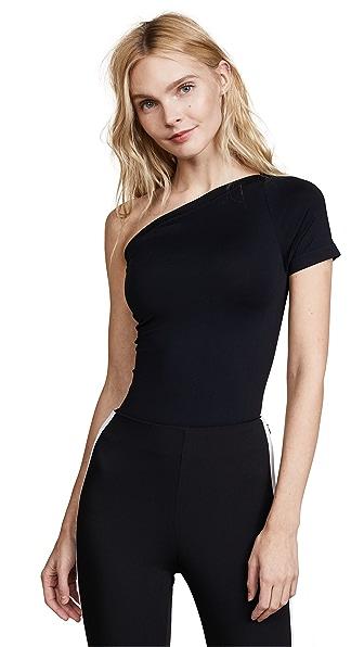 Helmut Lang Asymmetrical Seamless Bodysuit In Black