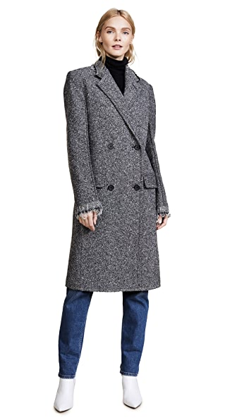 Helmut Lang Deconstructed Overcoat In Melange Grey