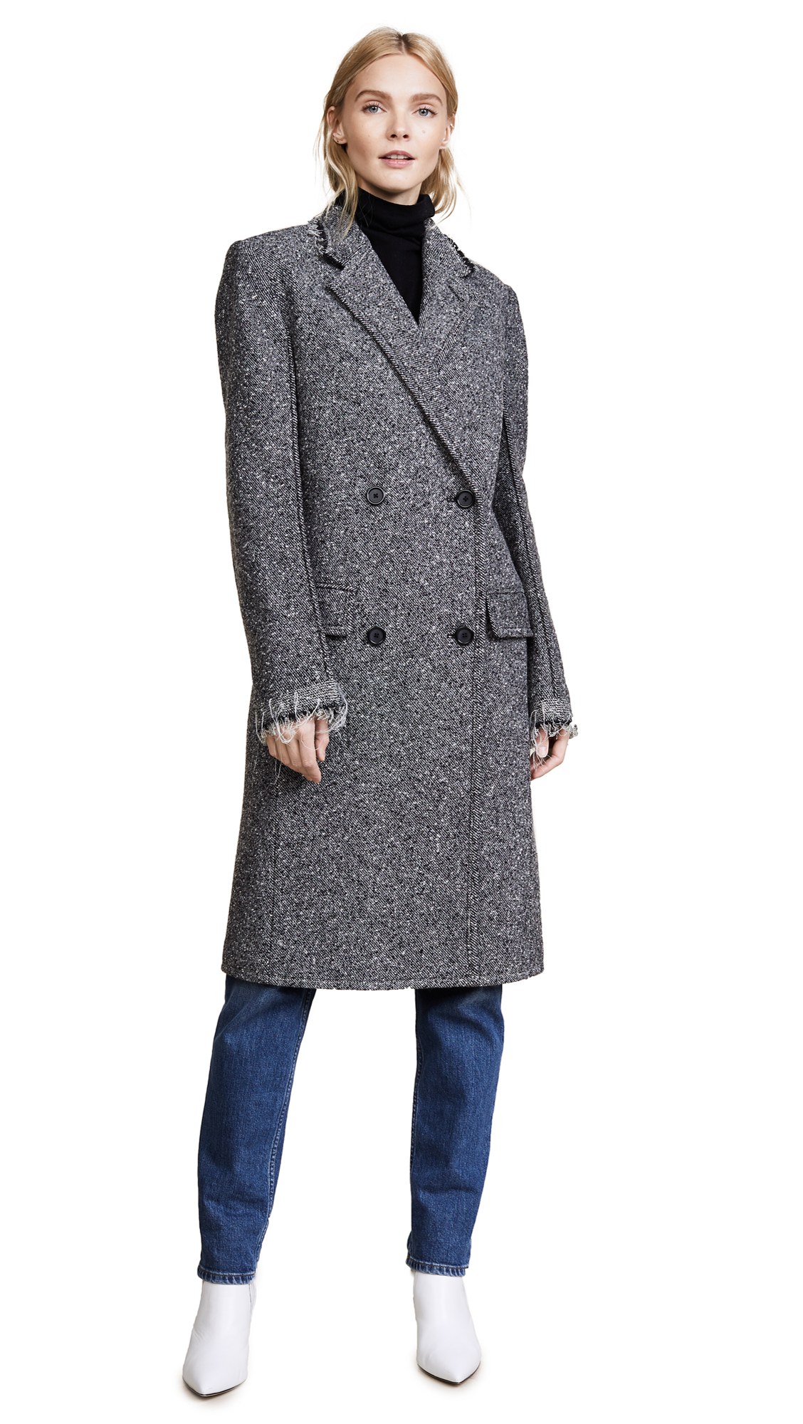 Helmut Lang Deconstructed Overcoat - Melange Grey