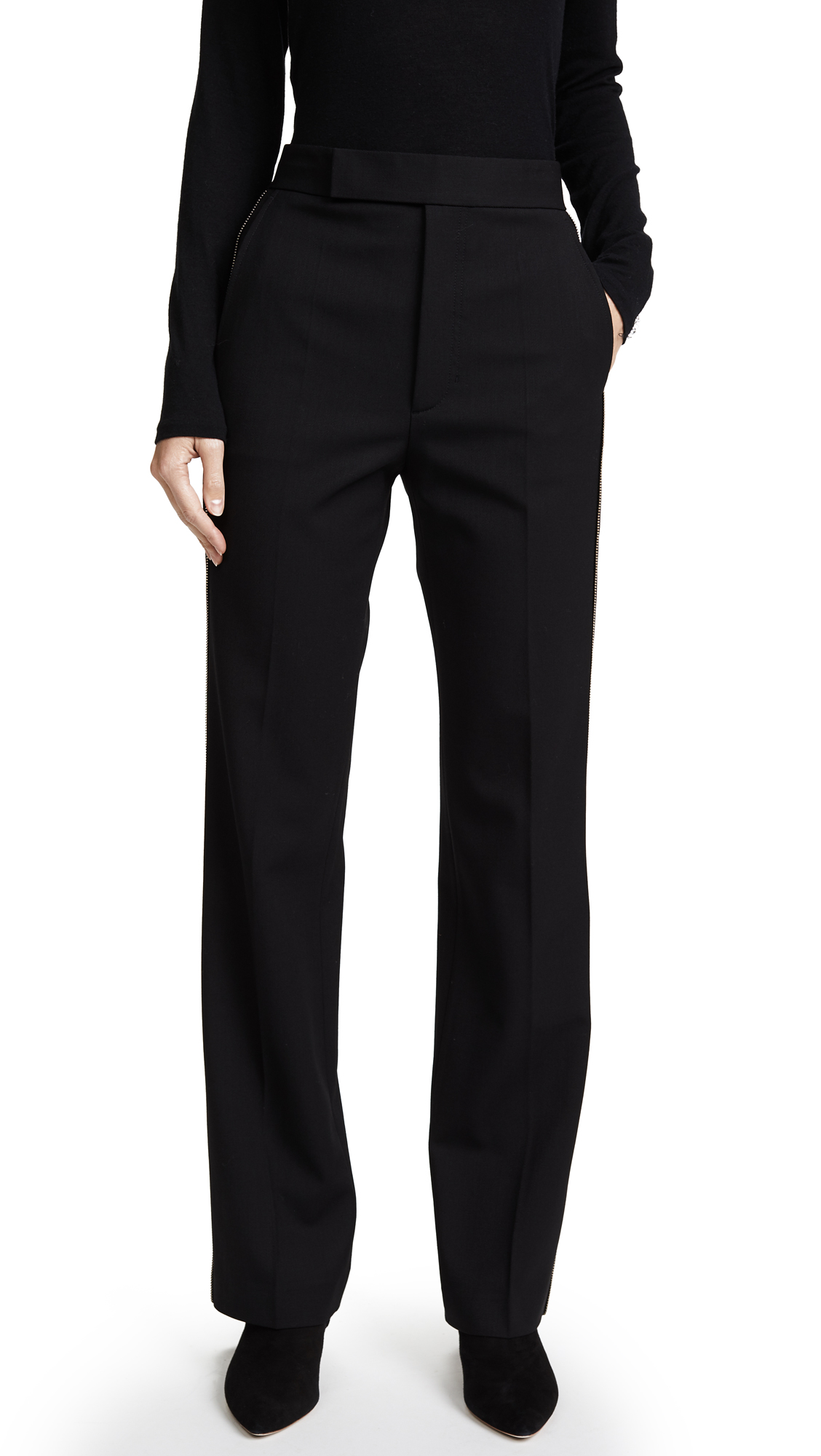 Helmut Lang Textured Suiting Pants with Zipper Detail - Black