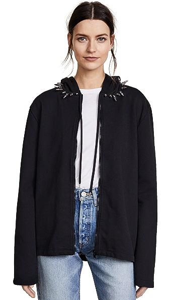 Helmut Lang RE-EDITION Stud Collar Hoodie In Black