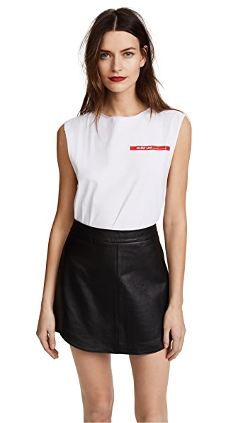 Helmut Lang Raw Edge Muscle Tee In White/Red