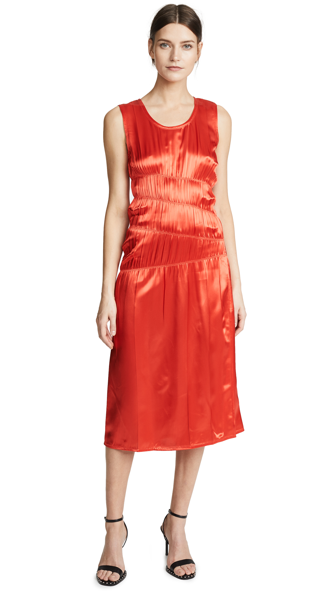 Helmut Lang Ruched Tank Dress In Volcano