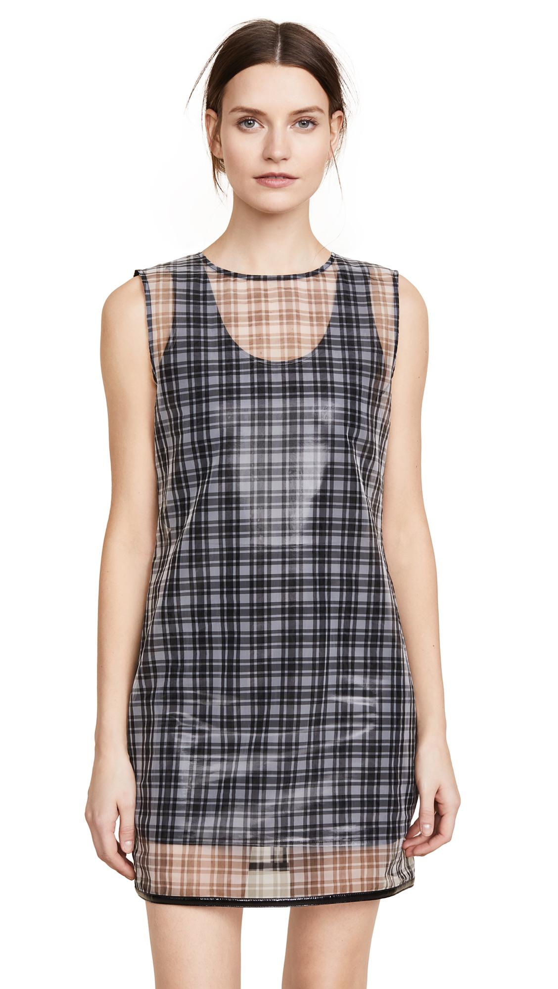 Helmut Lang Plaid Shell Dress In Black Multi