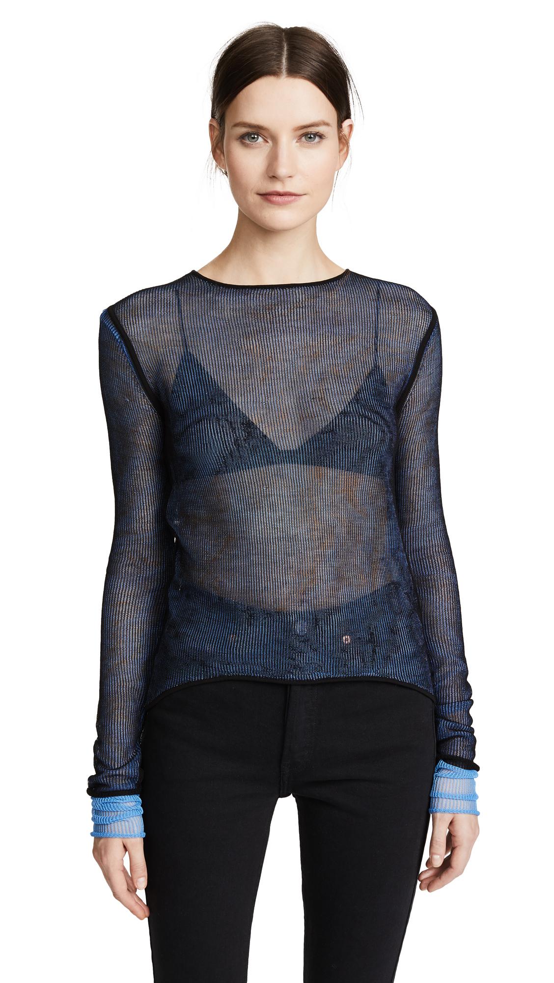 Helmut Lang Sheer Pullover - Black/Plastic Blue