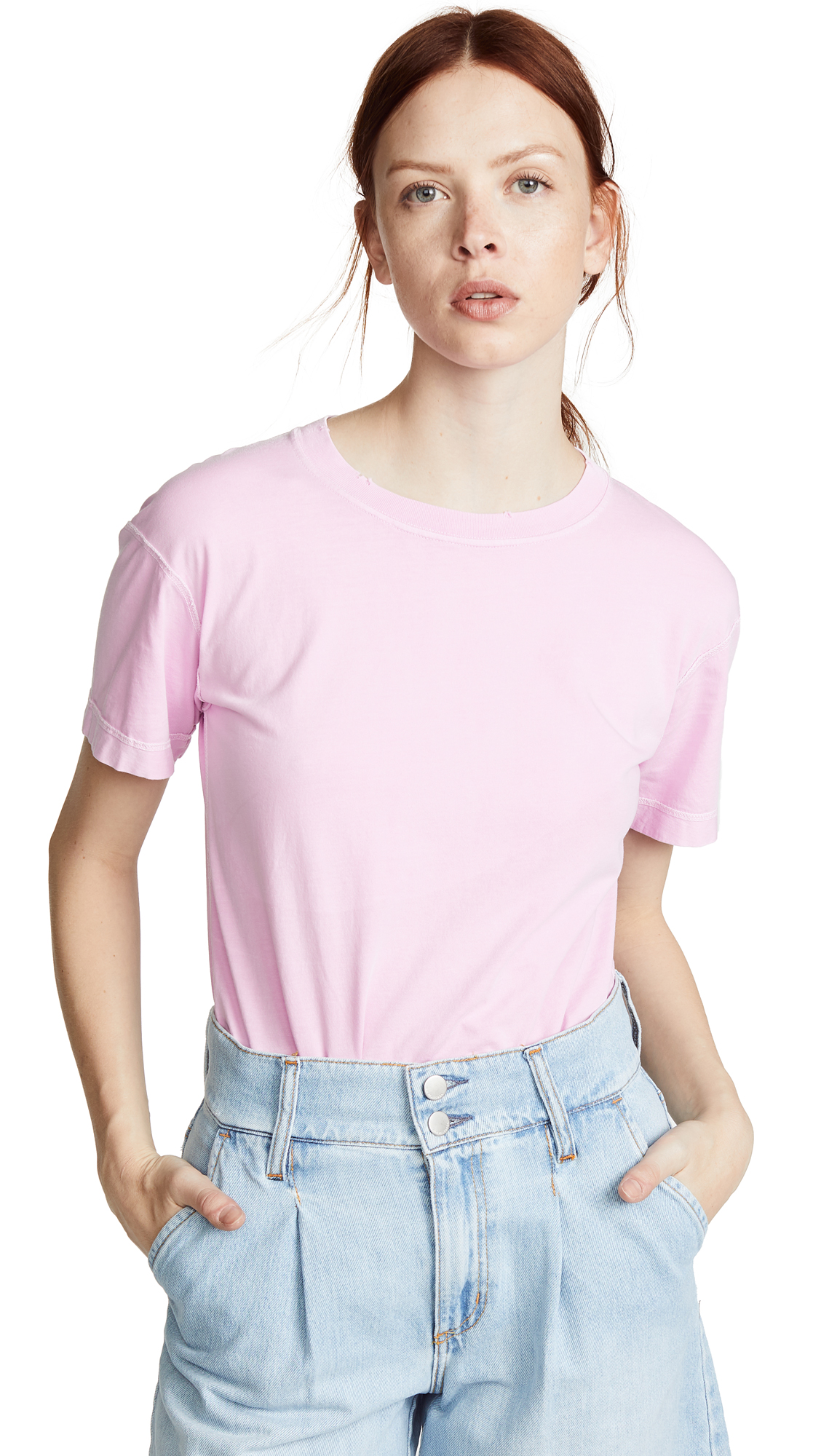 Helmut Lang Distressed T-Shirt - Disco Pink