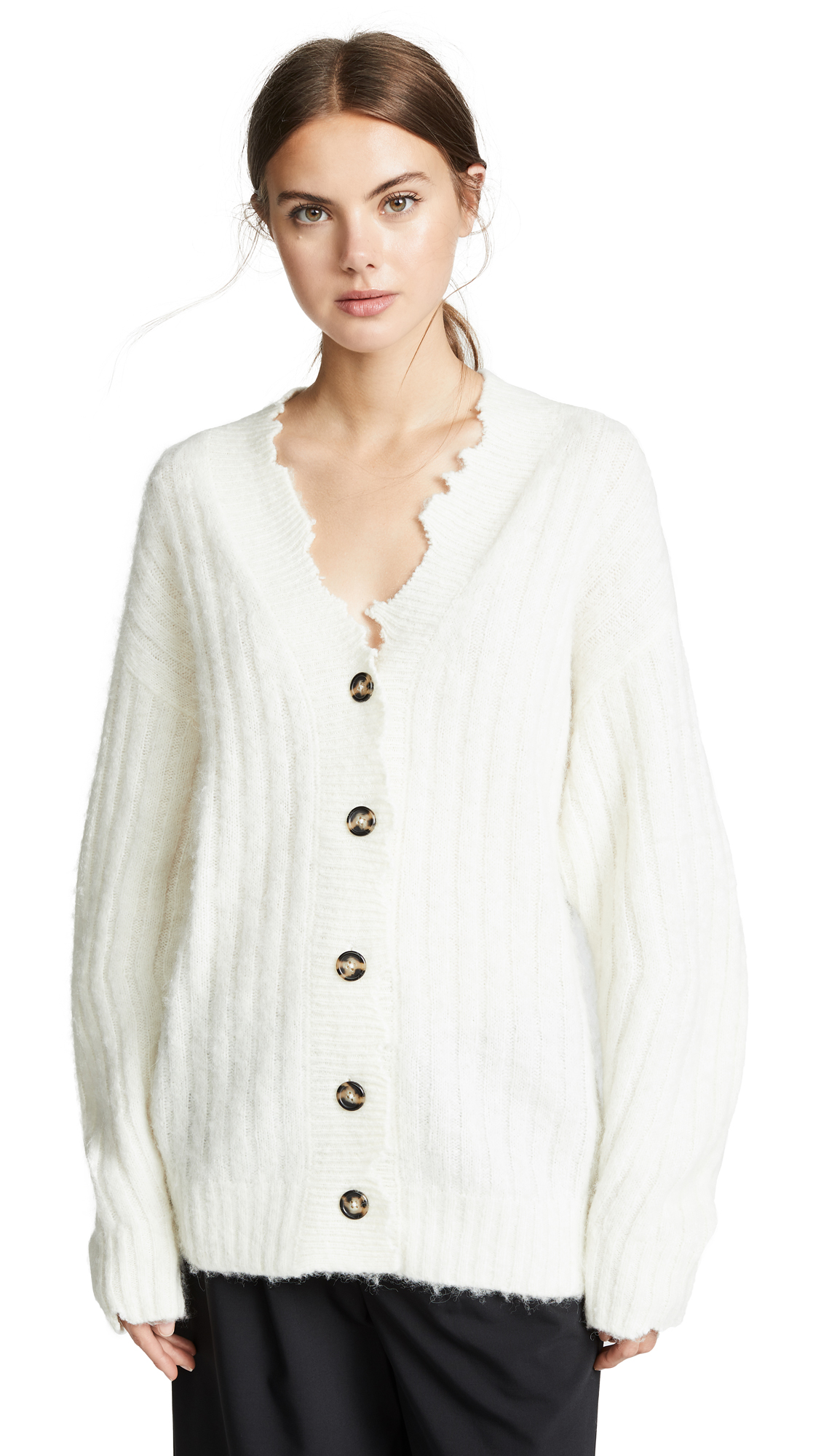 Wool And Alpaca-Blend Ribbed-Knit Cardigan, Ivory