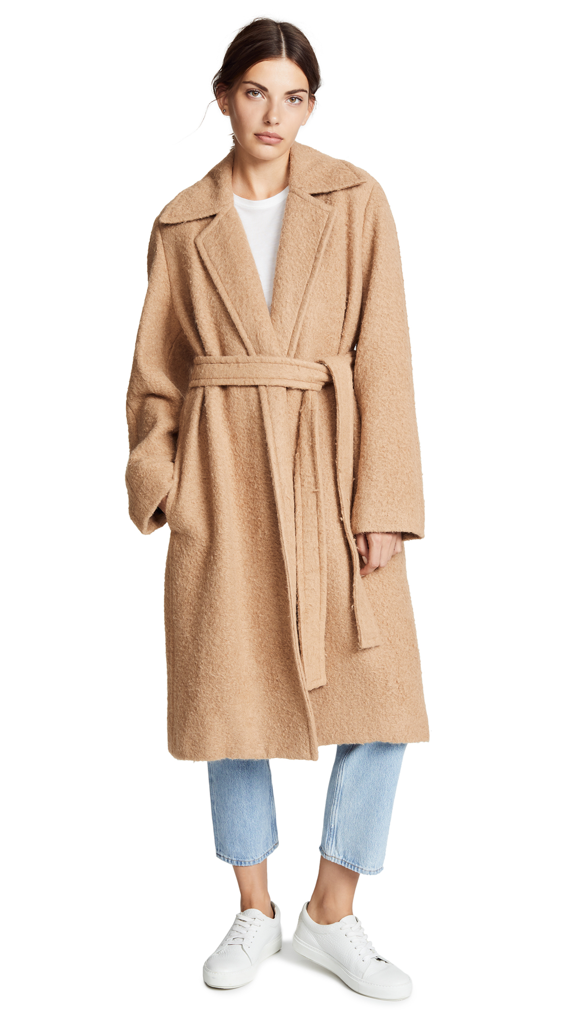 Helmut Lang Napped Wool Coat In Camel