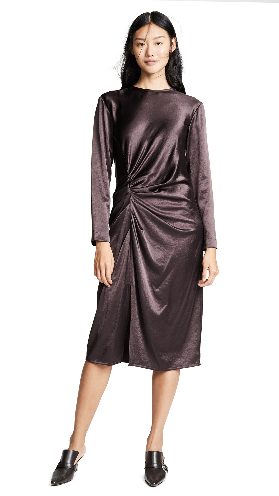 Helmut Lang Crinkle Long Sleeve Dress In Wine