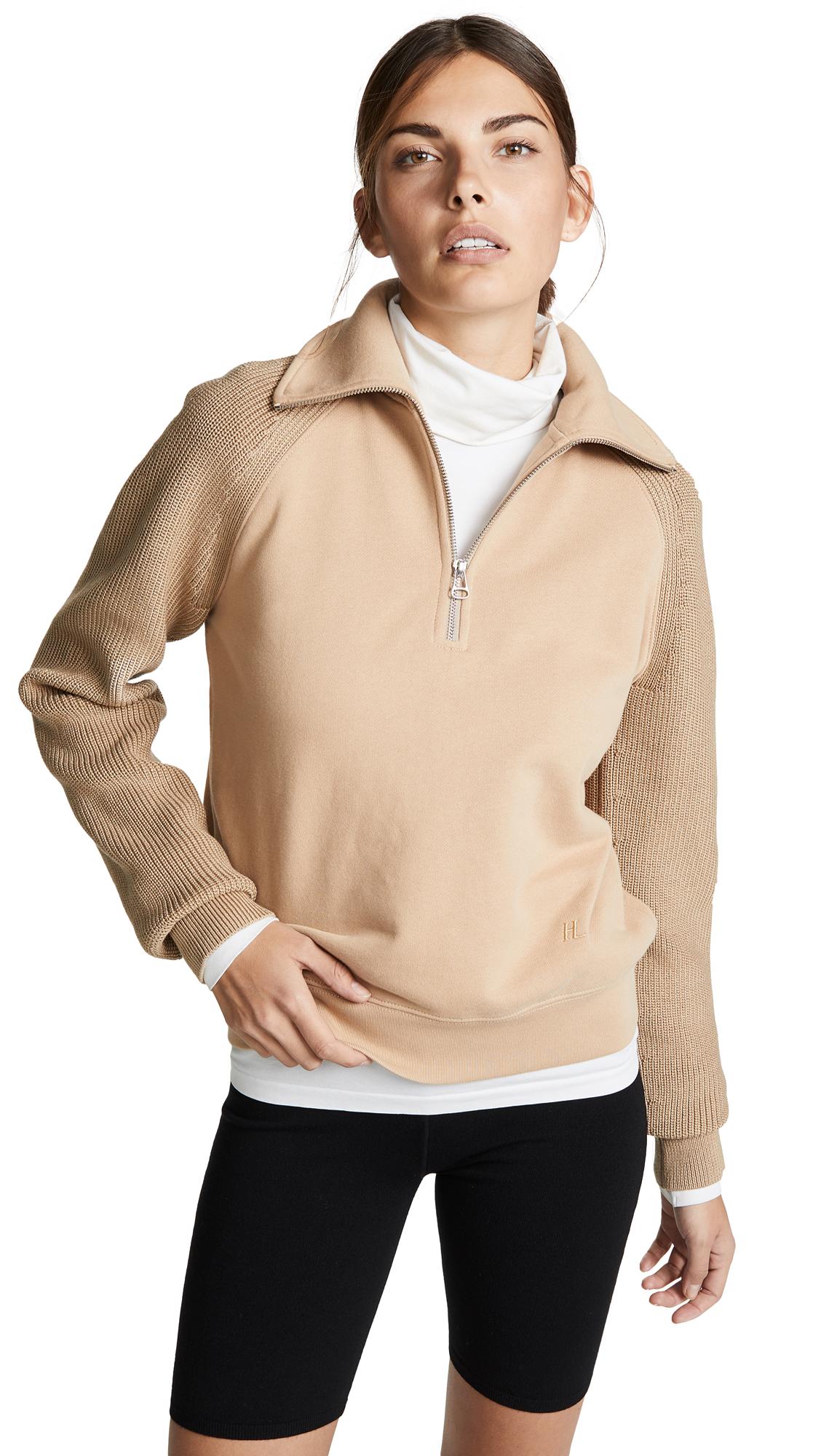 Helmut Lang Sweater Combo Zip Sweatshirt - Camel