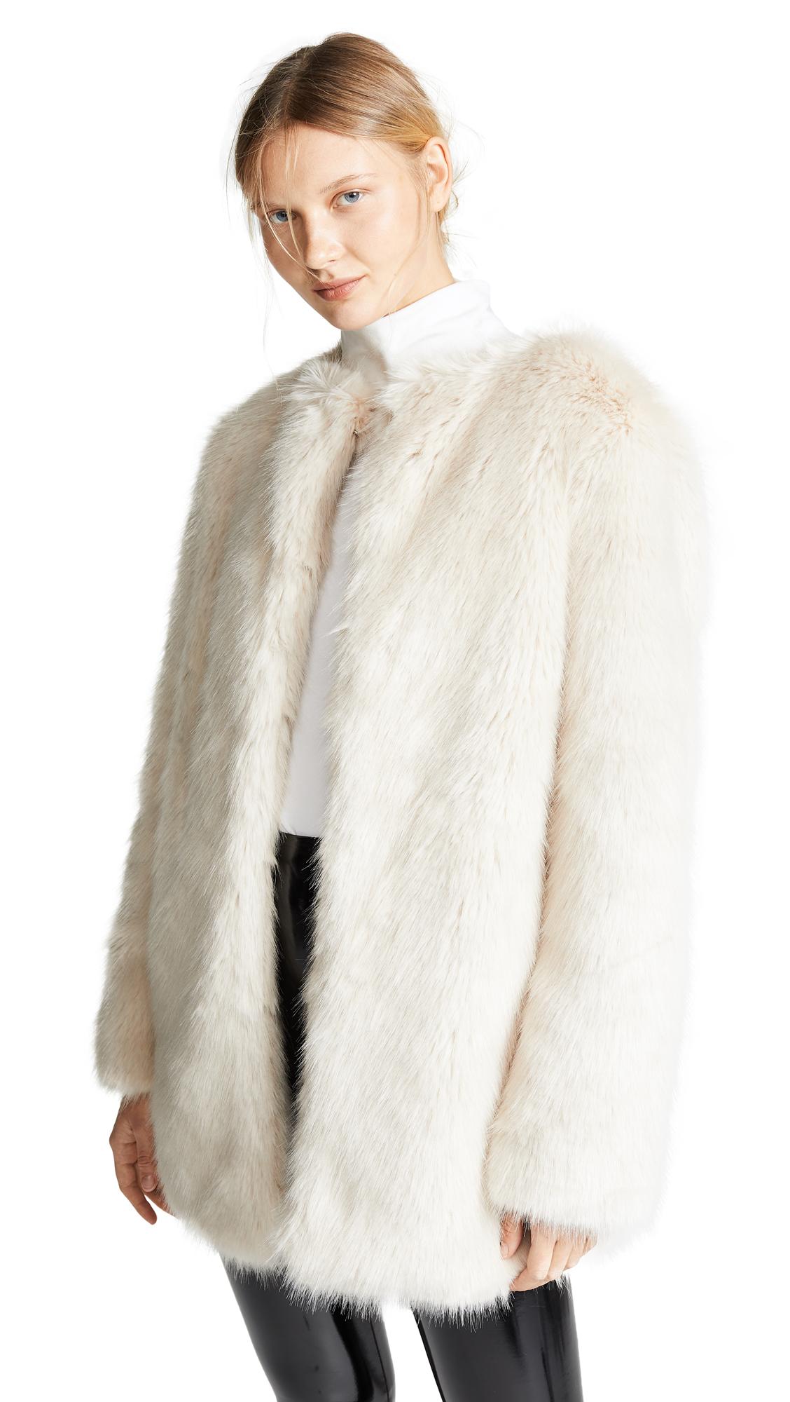 Helmut Lang Faux Fur Coat - Oatmeal