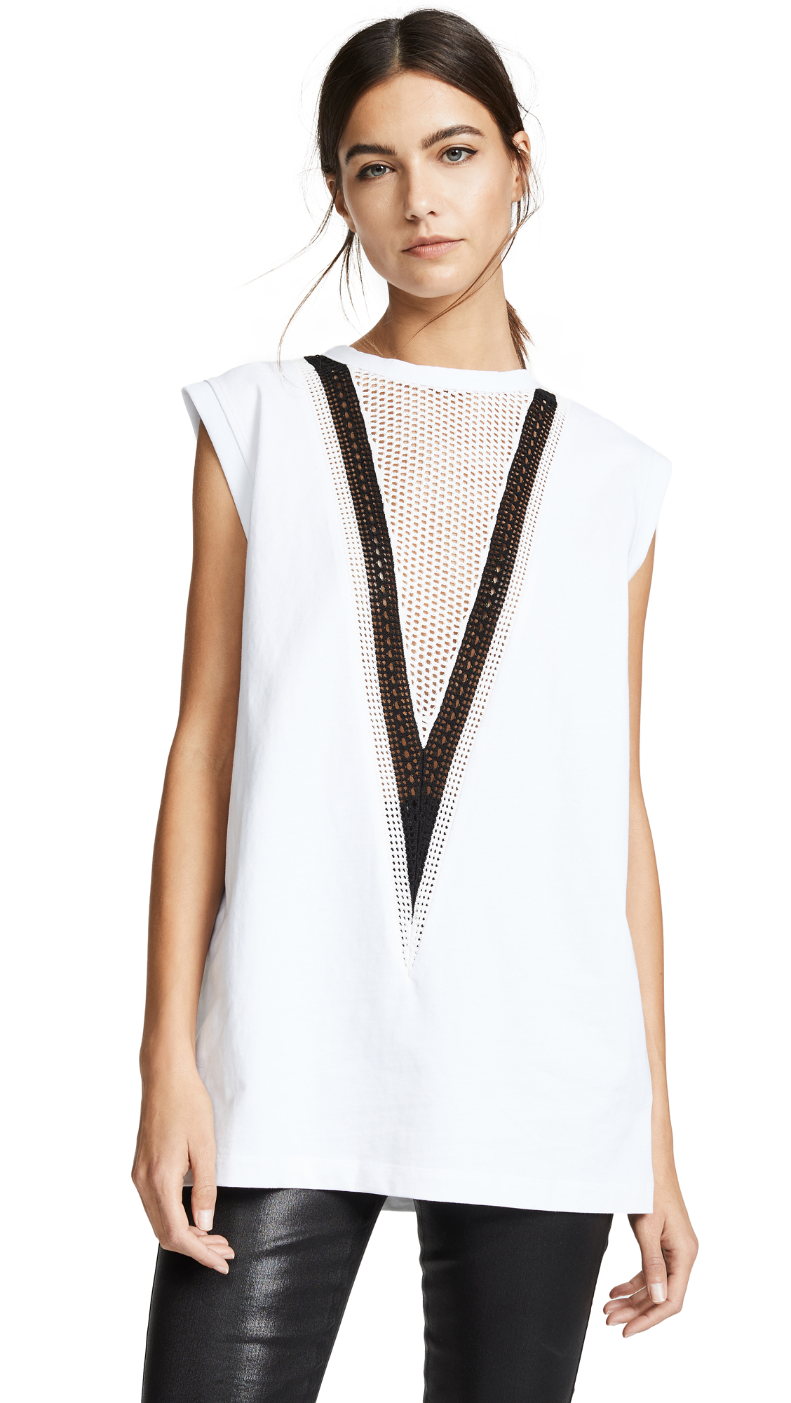 Pointelle Detail Muscle Tank in White