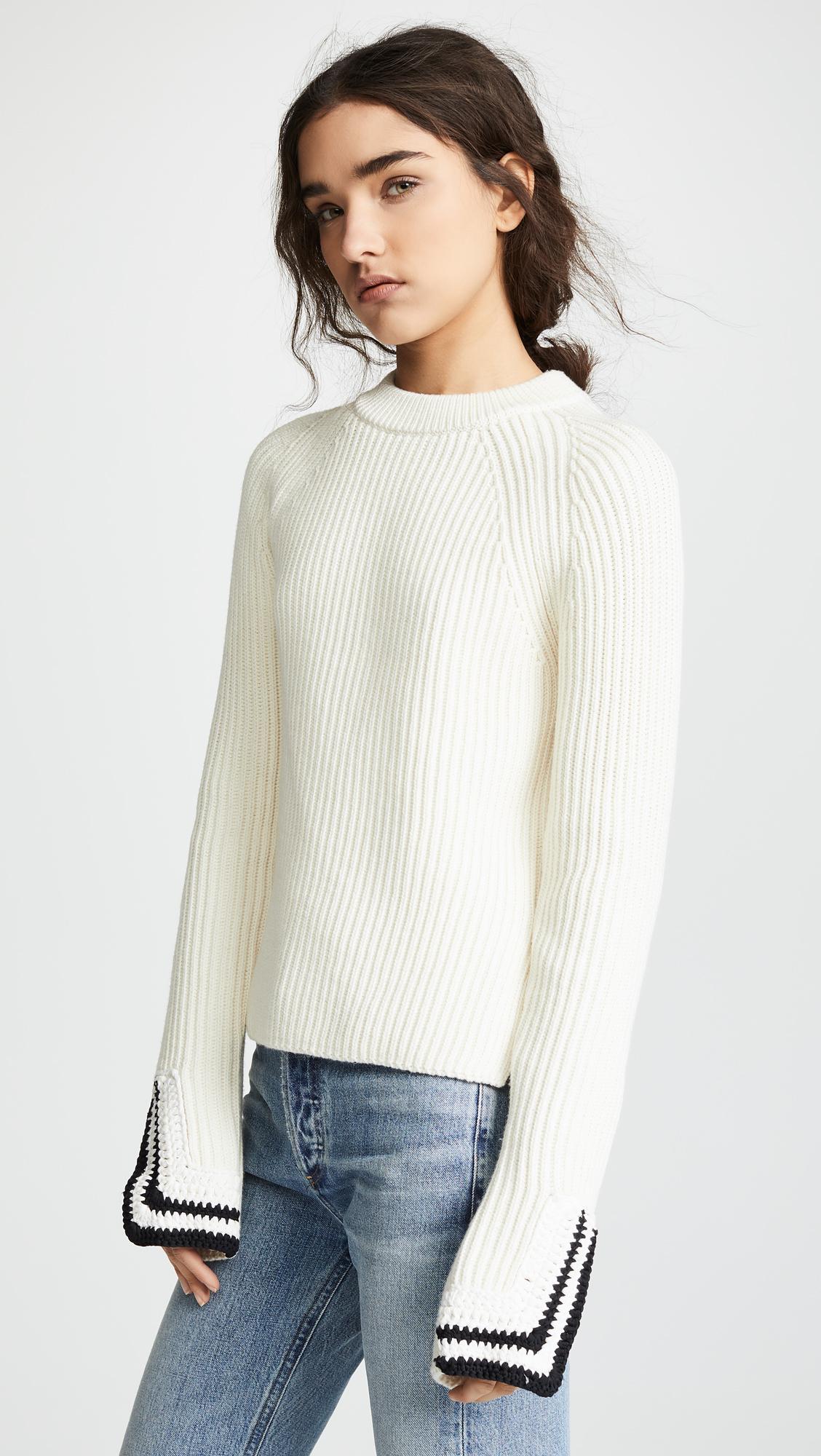 0b422f59eb9fe Helmut Lang Crochet Detail Crew Neck Sweater