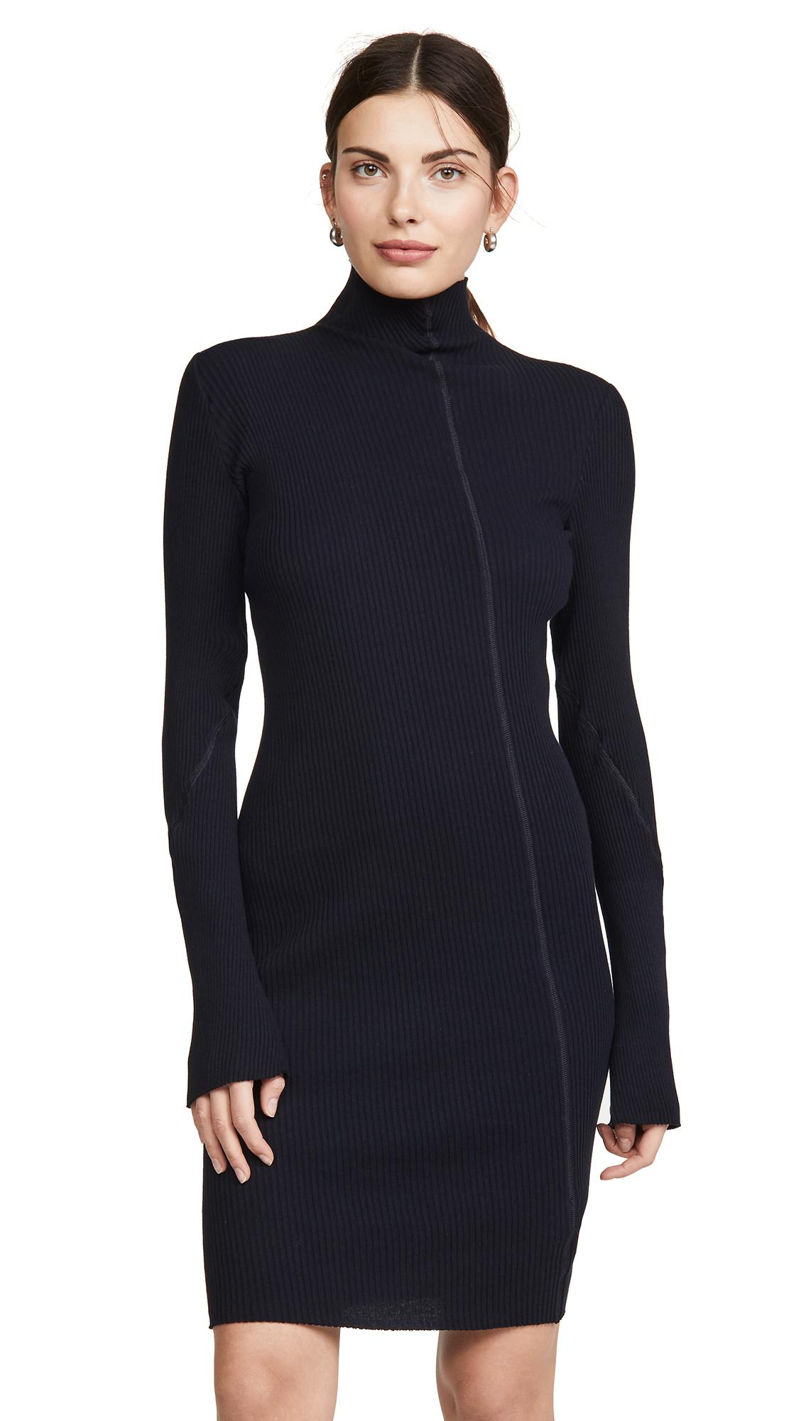 Helmut Lang Cotton Rib High Neck Dress - Ink