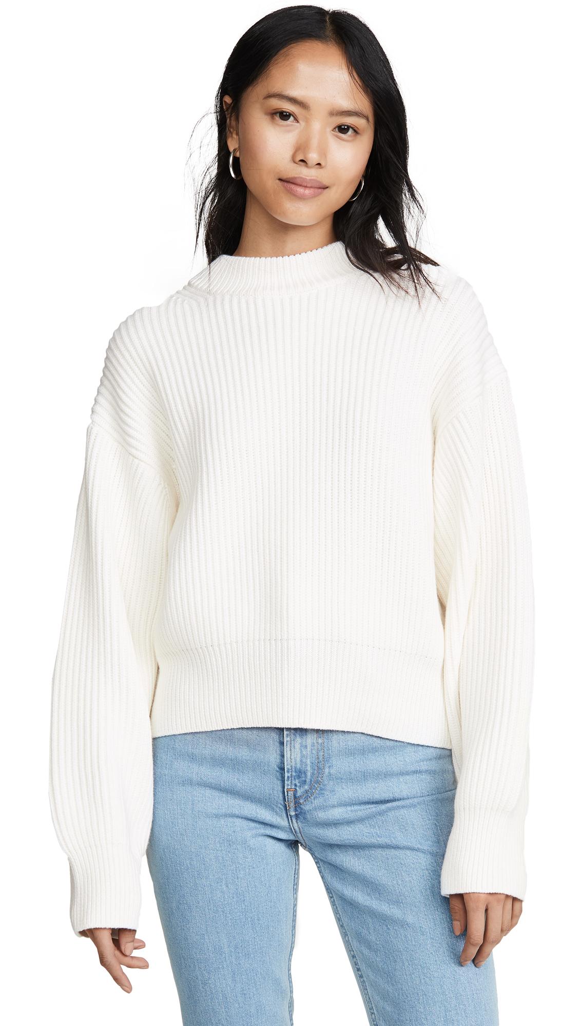 Helmut Lang Wool Cotton Crew Neck Sweater - Ecru