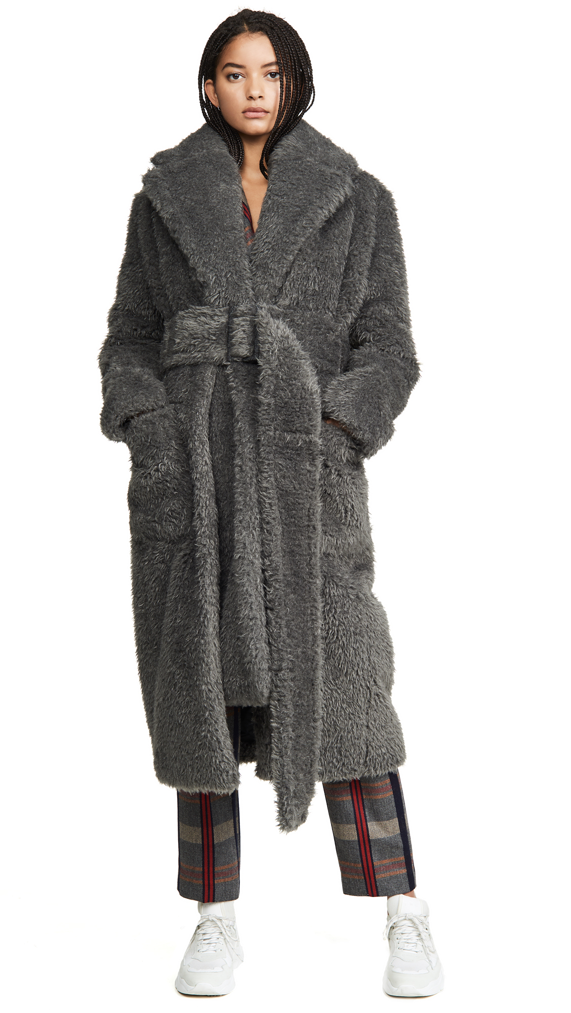 Buy Helmut Lang online - photo of Helmut Lang Shaggy Fur Belted Coat