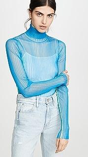 Helmut Lang Водолазка из ткани в рубчик
