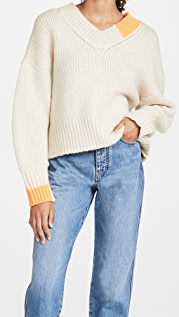 Helmut Lang Camel V Neck Sweater