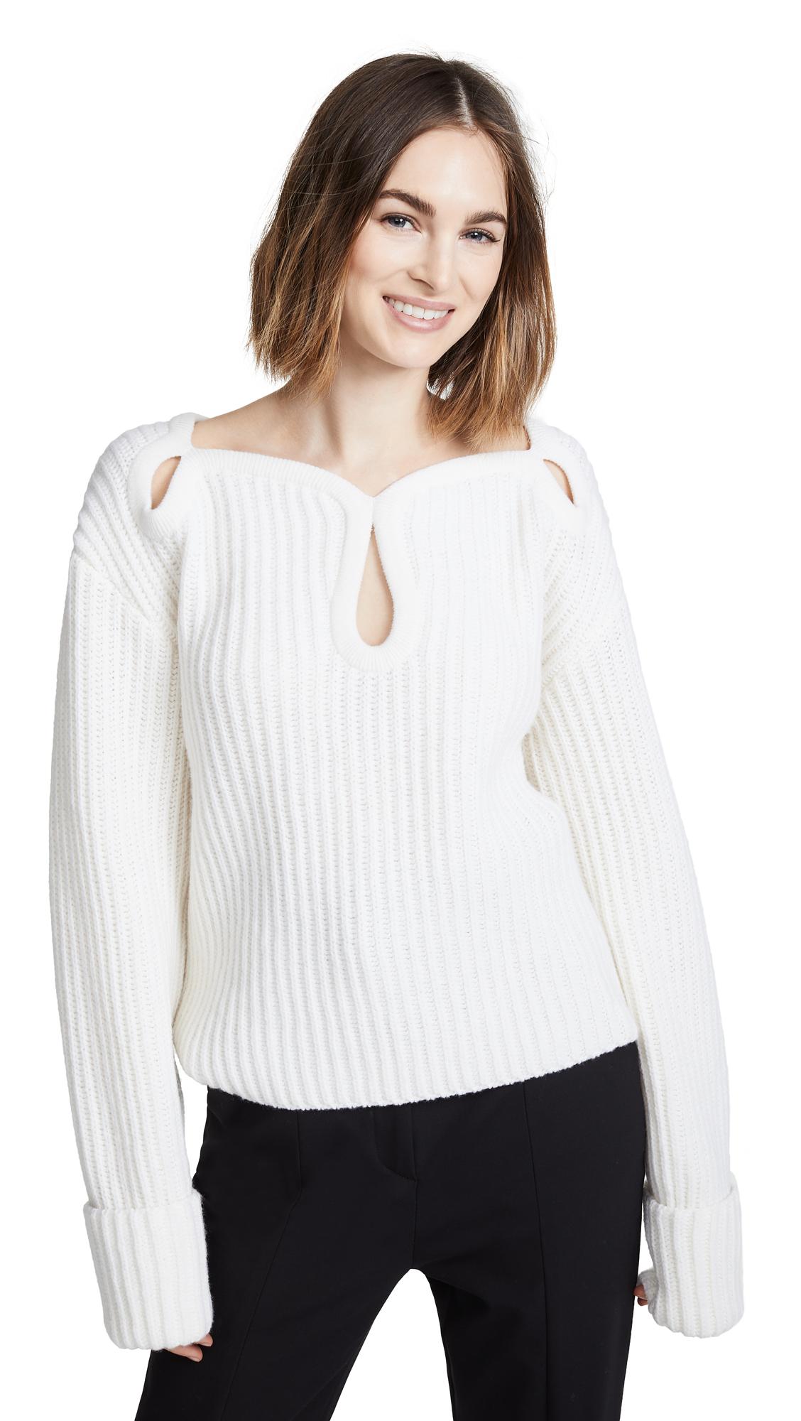 Keyhole Shoulder Merino Wool Sweater, Ecru