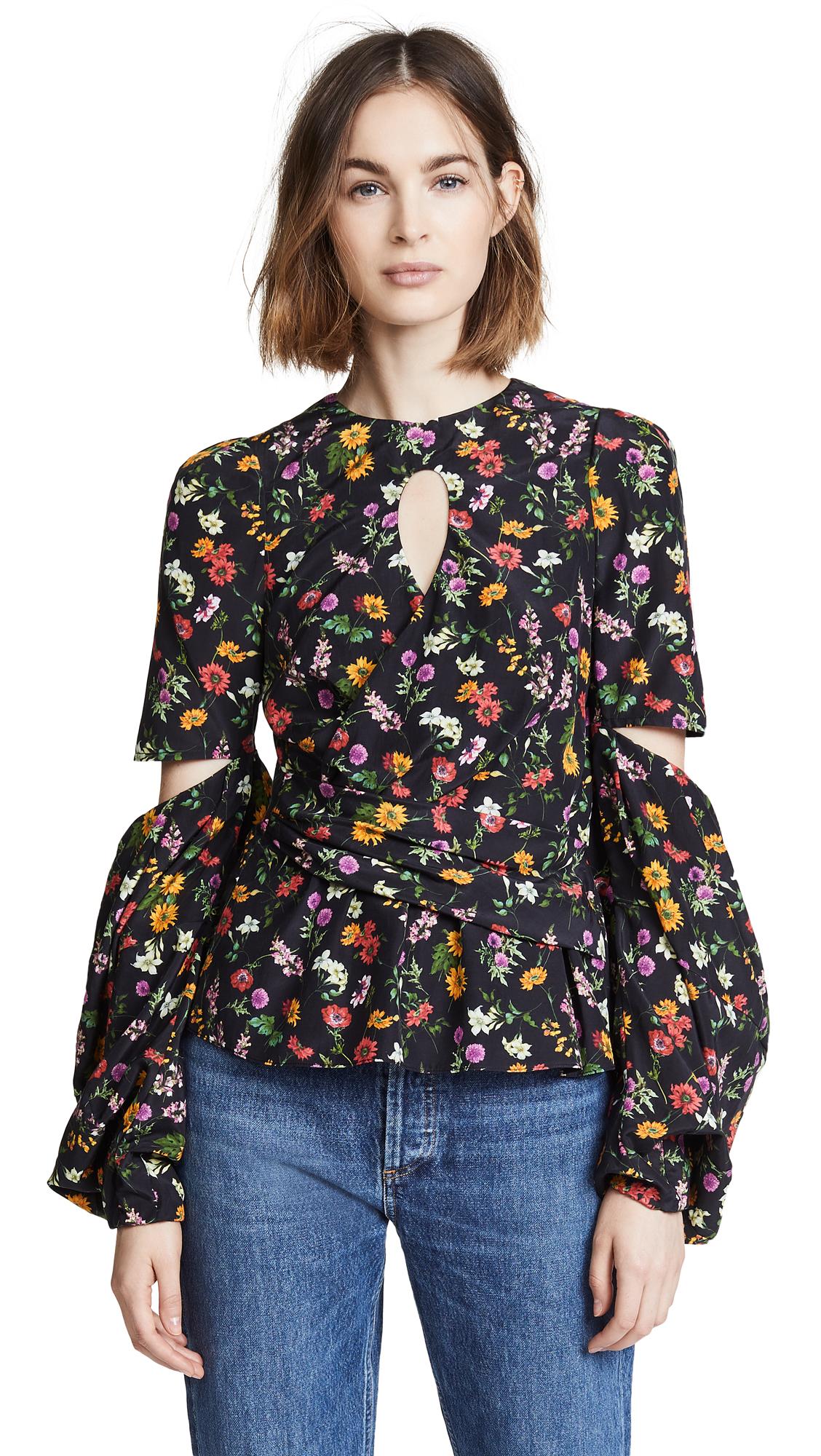 HELLESSY Celeste Silk & Cotton Cutout Blouse in Black Floral