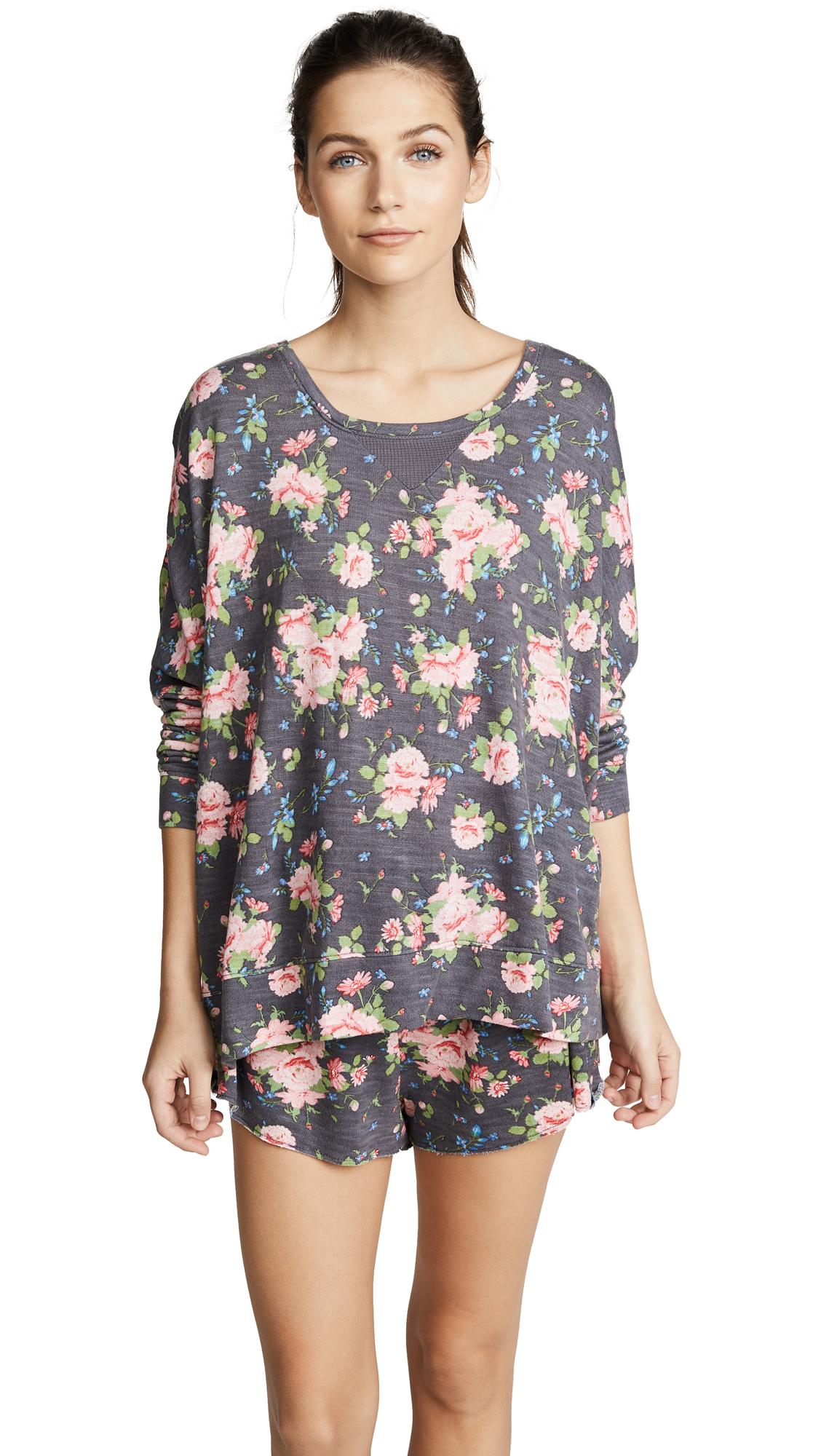 Honeydew Intimates Starlight Lounge Sweatshirt In Dark Grey Floral