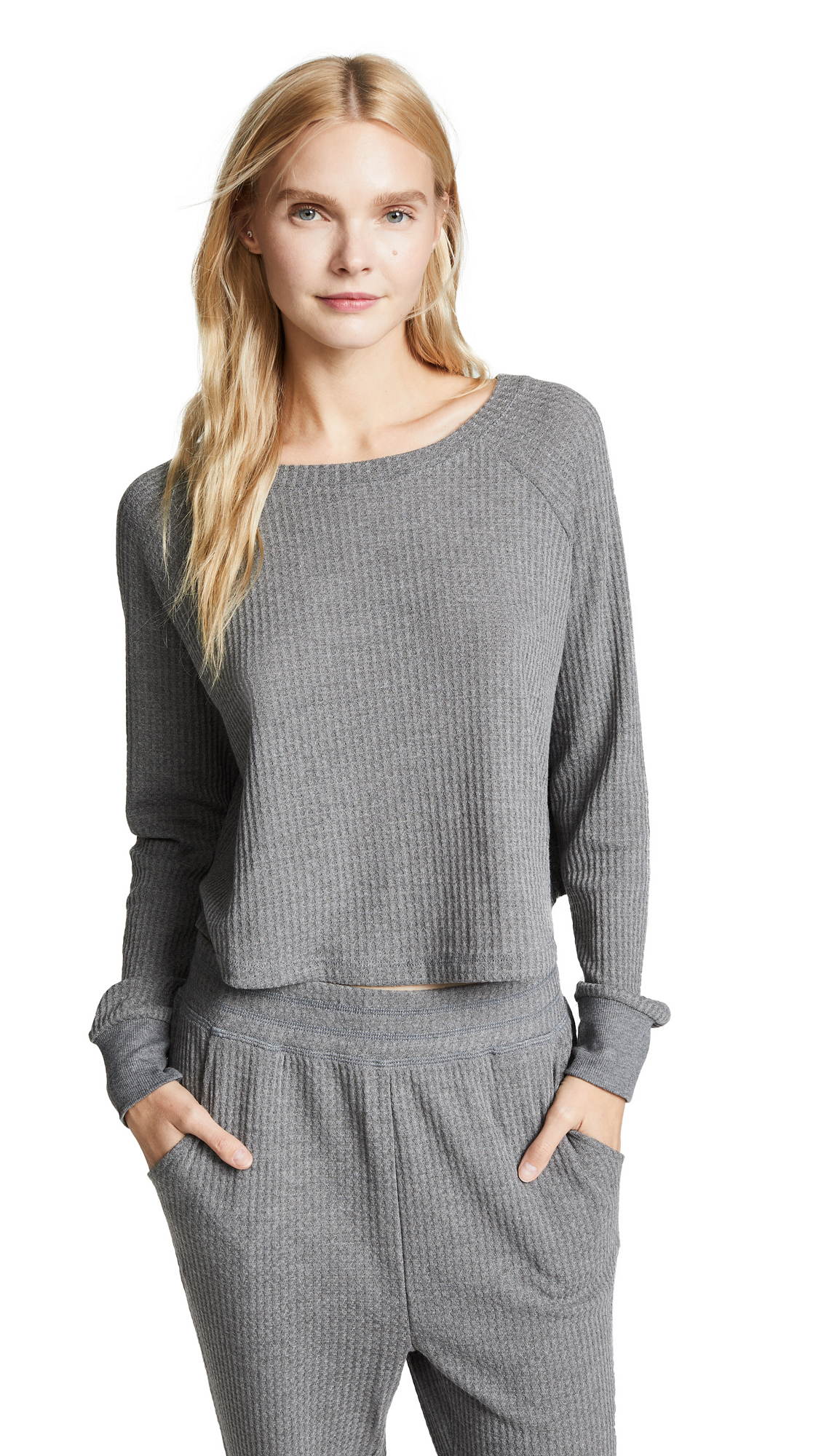 Honeydew Intimates Sneak Peek Waffle Knit Crop Sweatshirt In Heather Grey