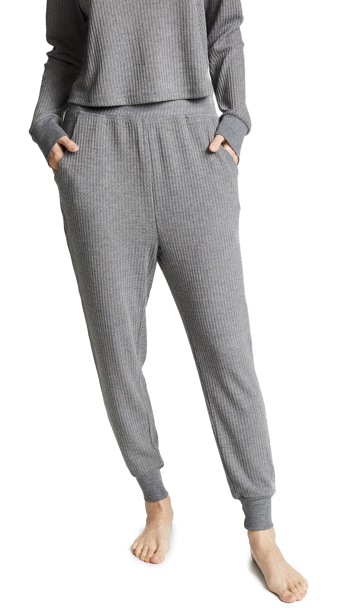 Honeydew Intimates Sneak Peek Waffle Knit Lounge Pants In Heather Grey