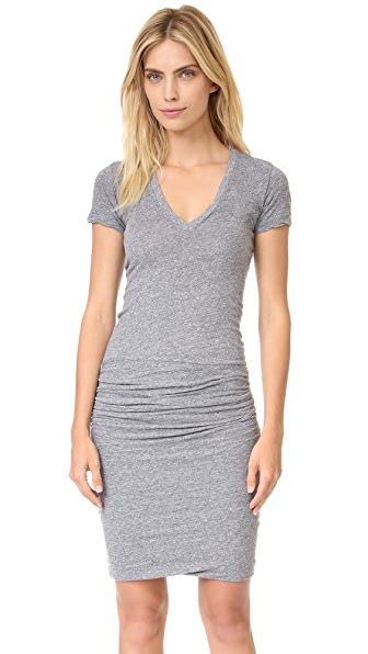 MONROW Short Sleeve Shirred Dress In Granite