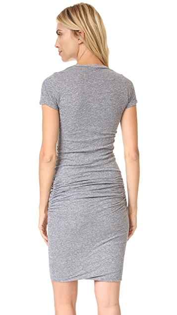 MONROW Short Sleeve Shirred Dress