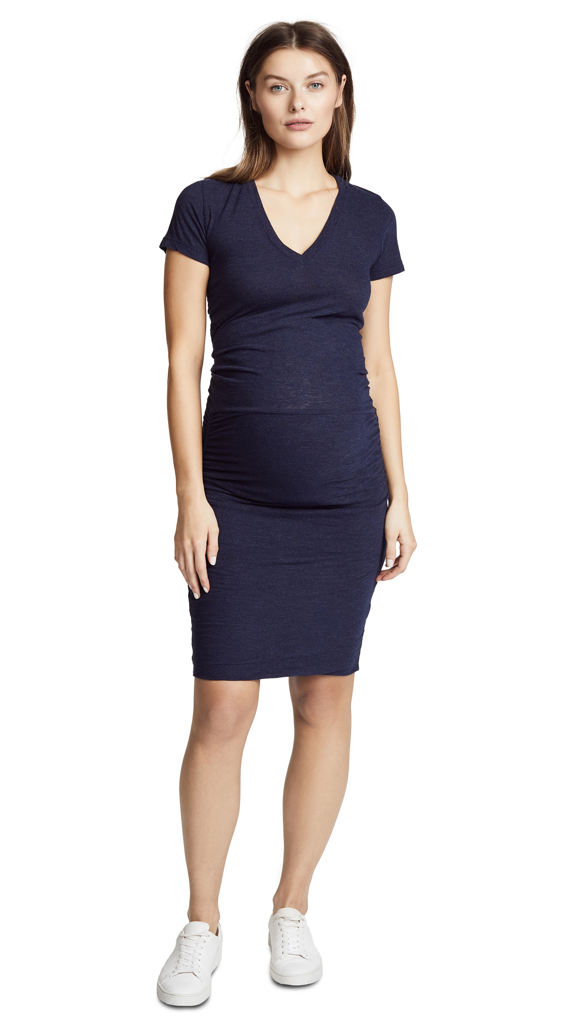 MONROW Maternity Shirred Tee Dress In Navy