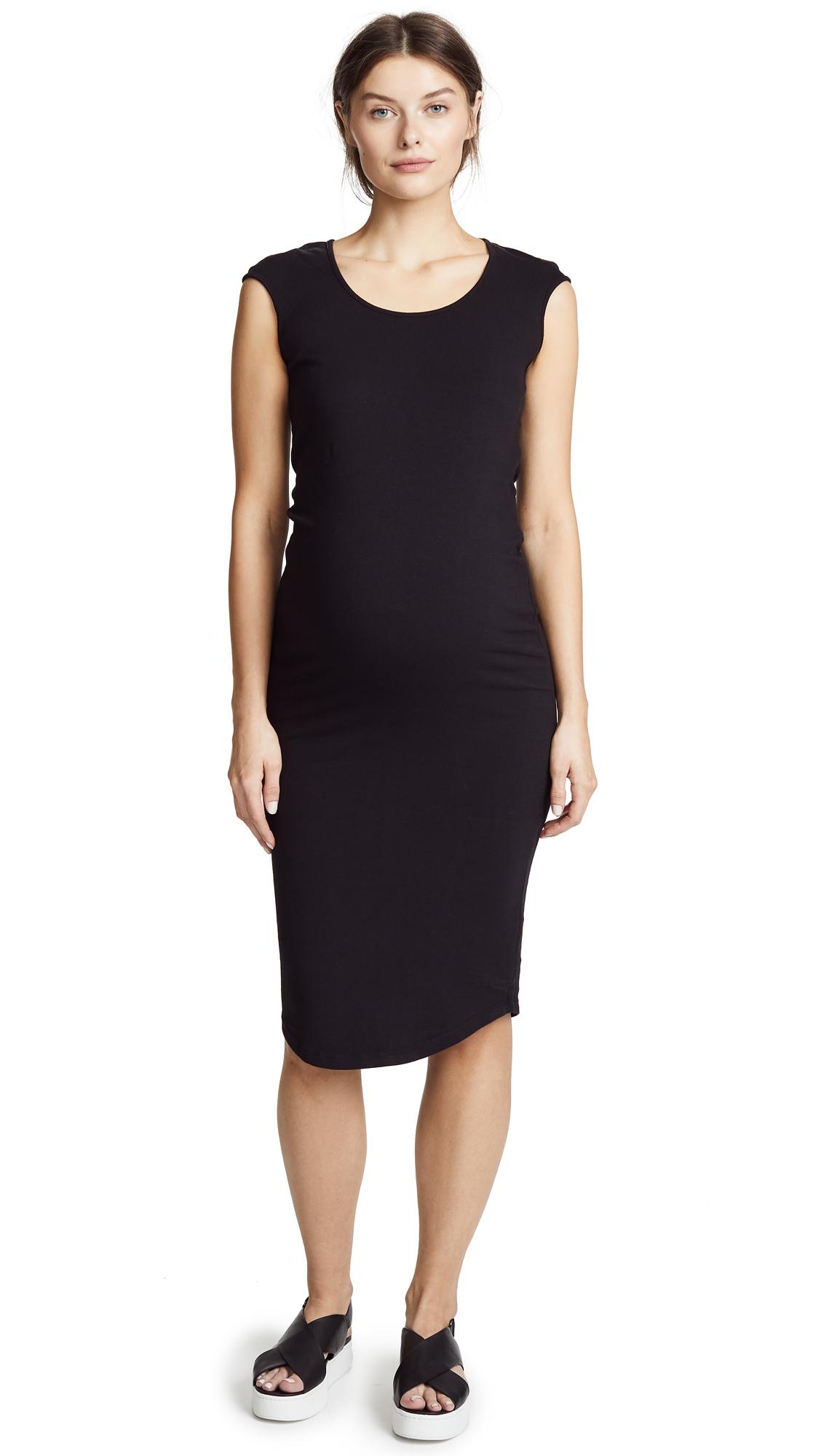 MONROW Maternity Cap Sleeve Dress In Black