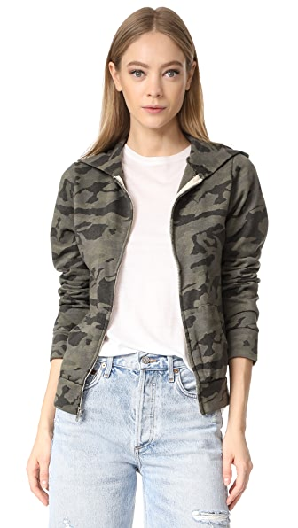 MONROW Camo Zip Up Hoodie - Hunter